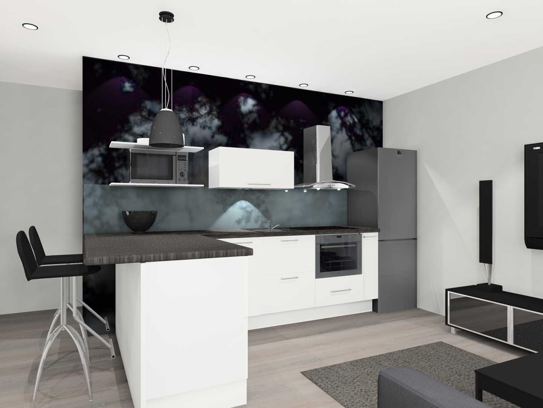 Moderni olohuone keittiö, Sisustus  keittiö  olohuone
