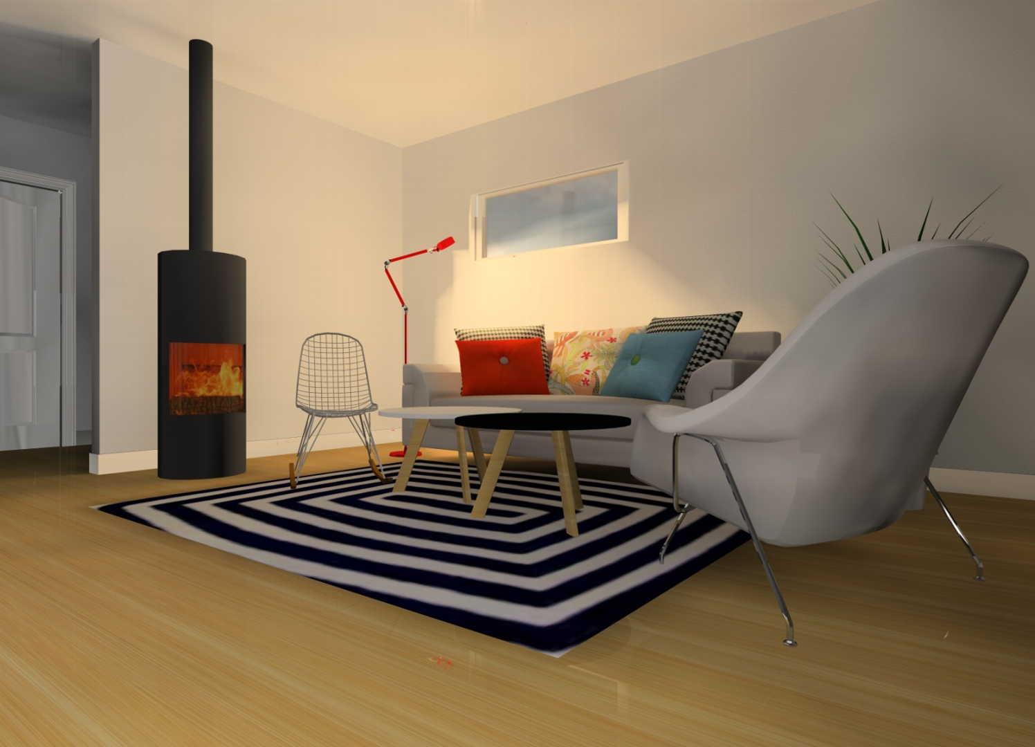 Moderni olohuone keittiö, Sisustussuunnitelma  olohuone