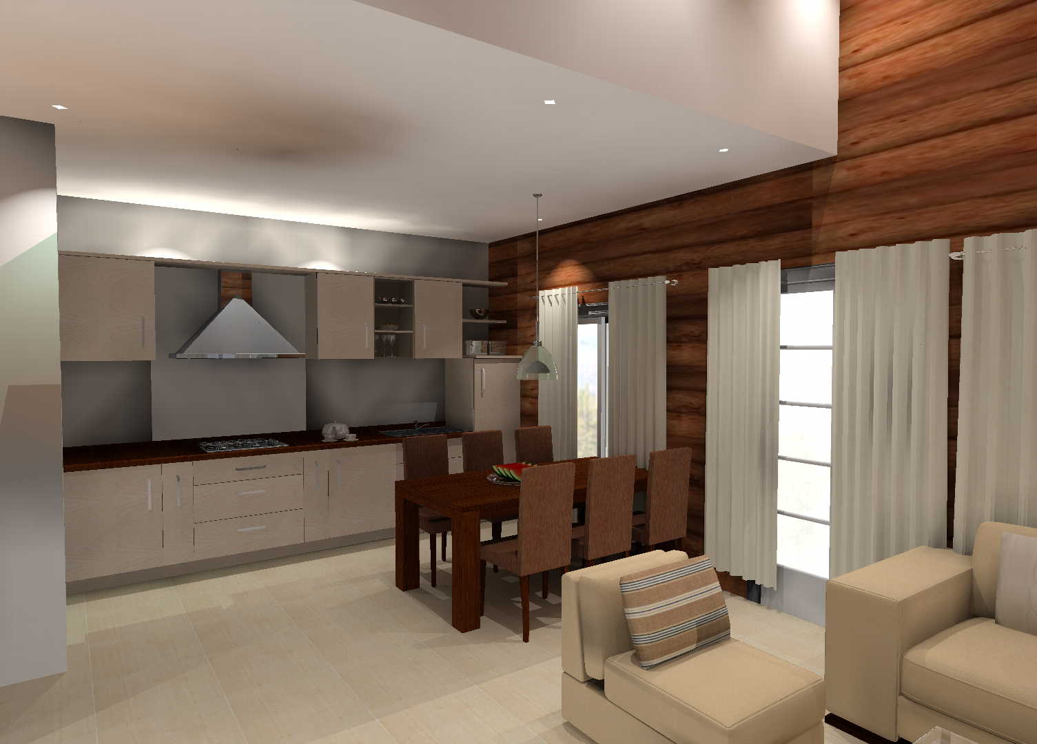 Moderni olohuone keittiö ruokailutila, Sisustus  olohuone  ruokailutila  k