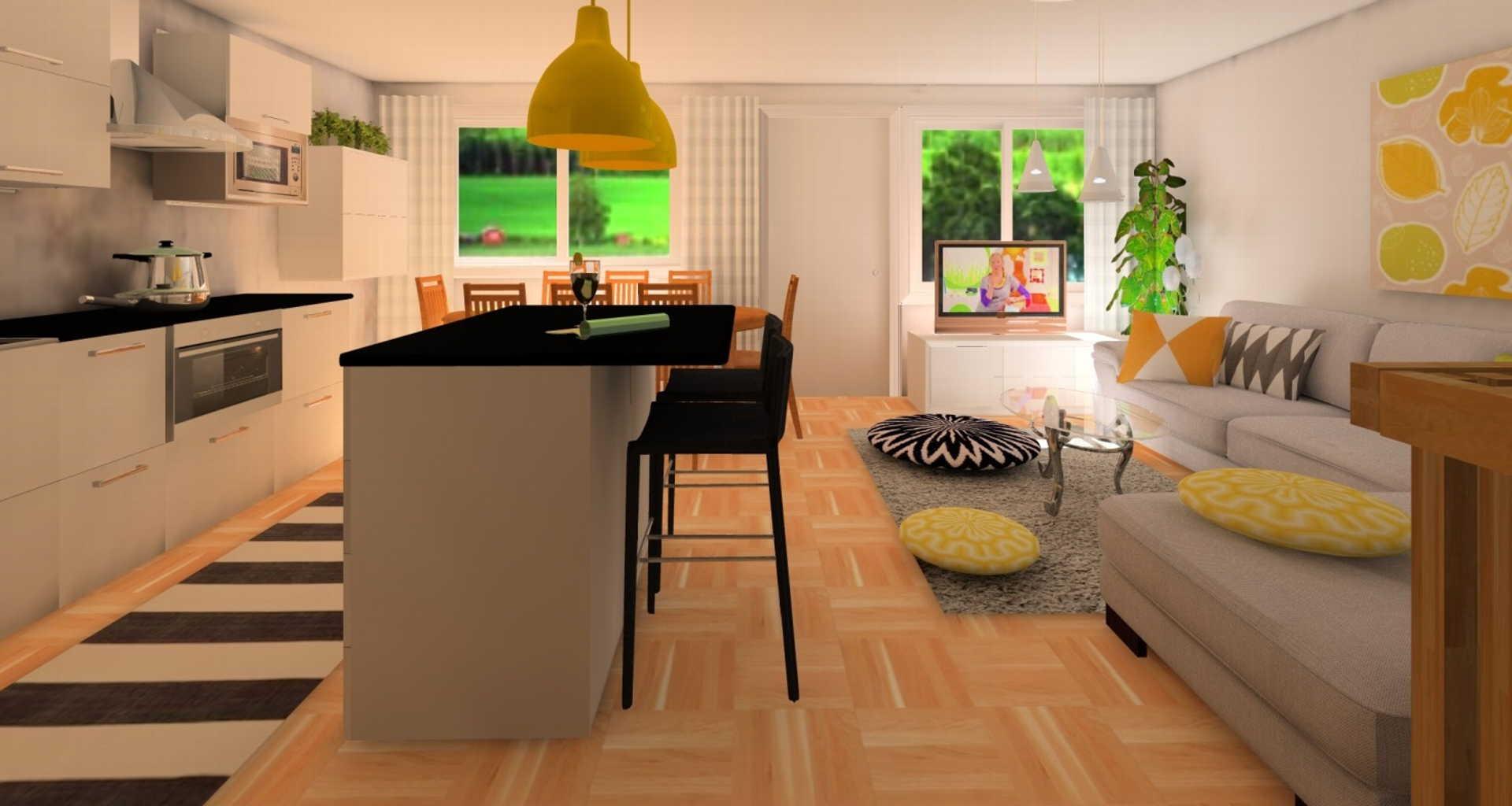 Moderni olohuone, Sisustus  olohuone  keittiö