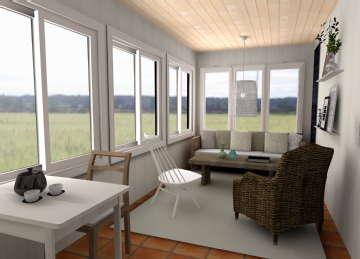 Sisustus - eteinen - verannasta kodikas oleskelutila