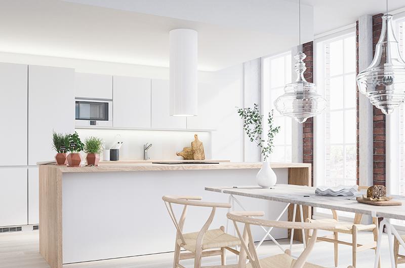 Moderni keittiö, valkoinen, Kiinteistömaailma Verdulo Oy