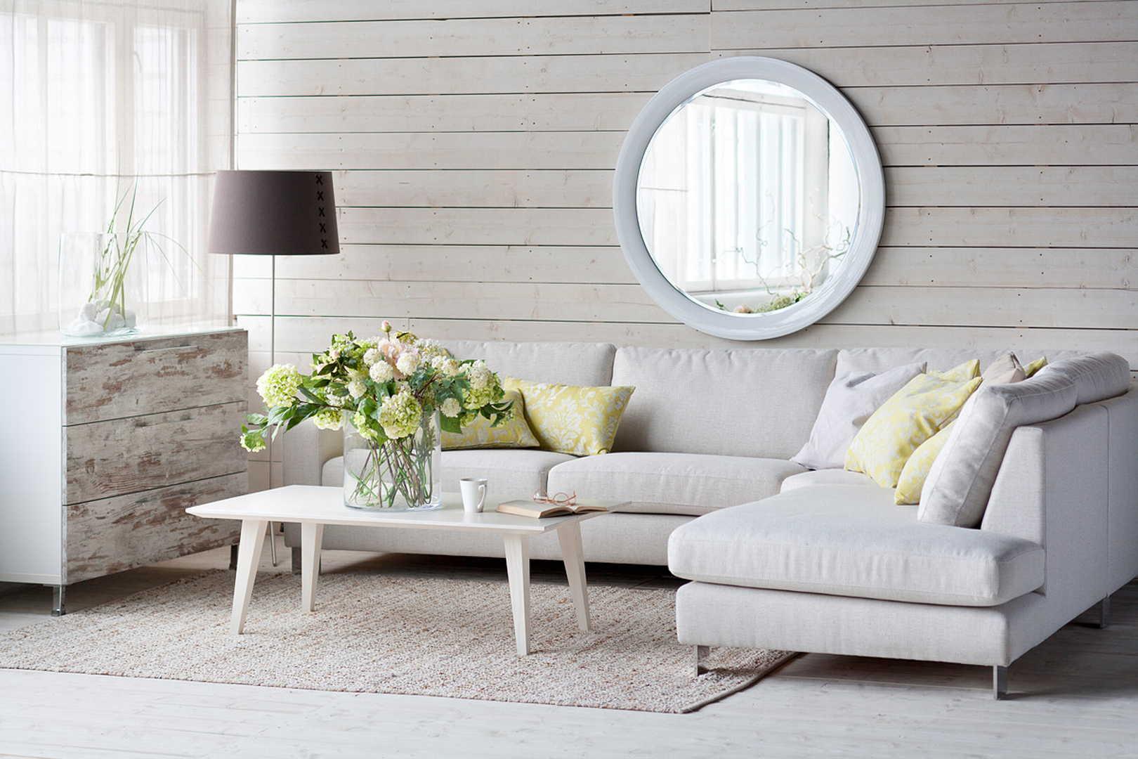 isku, olohuone, hortensiakimppu