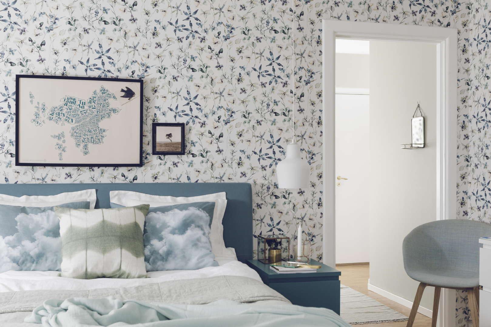 Makuuhuoneen sisustus, kesä, Värisilmä: BoråsTapeter Poetry 7108 tapetti